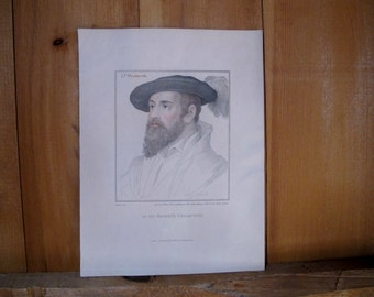 Antique Print c.1812 Holbein Beard Bearded Man