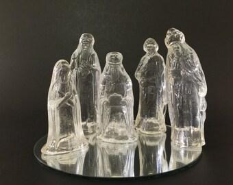 Vintage Glass Nativity Set