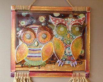 Fused Glass Night Owls Panel; Wall Art; Hand Painted; Home Decor; Handmade; Wall Decor