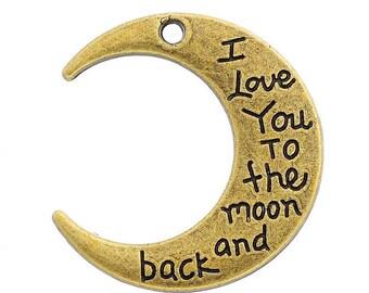 1 large Moon Motif 2.9x2.7cm Bronze pendant charm