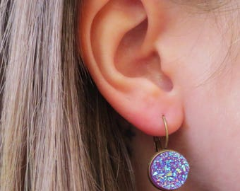 Purple Druzy Dangle Drop Earrings