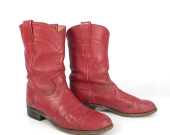 Red Cowboy Boots Vintage 1980s Justin Roper Women's size 6 1/2 B