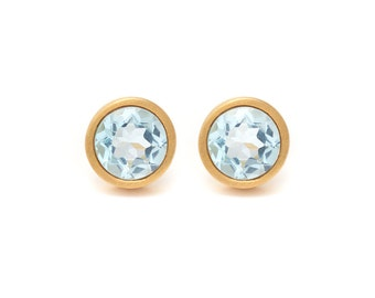 Sky Blue Topaz Stud Earrings - Gemstone POP Stud Earrings - Sky Blue Topaz in Yellow Gold - 18k Gold Vermeil - Studs