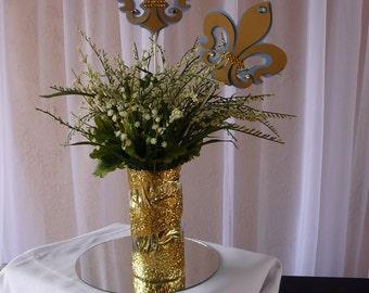 Fleur de Lis centerpieces, 4 Light  Blue and gold, Royal Fleur de lis, Paris Fleur de Lis, Royal Fleur de lis
