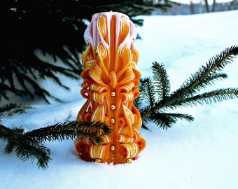 Carved candle. Candle Yellow. Yellow Candle. Unique Gift. Christmas Candles