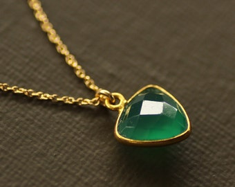 Green Onyx Triangle Necklace - Trillion Cut Gemstone - 14K Gold Filled Chain
