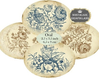 Oval 3.5 x 2.5 inch Sepia Blue Flowers Instant Download digital collage sheet O151 background roses