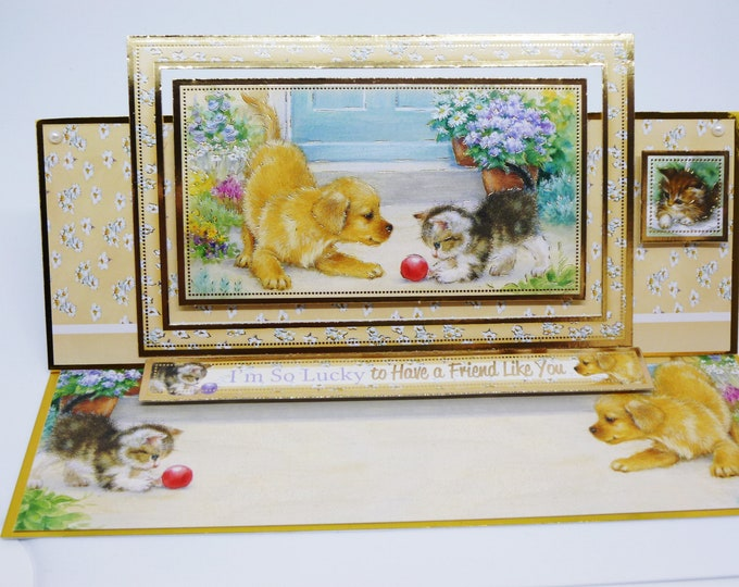 Puppy and Kitten Card, Easel Card, For A Special Friend,Personalise The Card,  Card For Mum, Card For Sister,