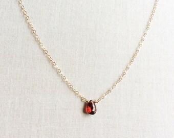 Garnet Necklace, January Birthstone, Garnet Necklace Gold, Garnet Jewelry, 14k Garnet Necklace, Garnet Choker, Birthstone Necklace, Red BN1