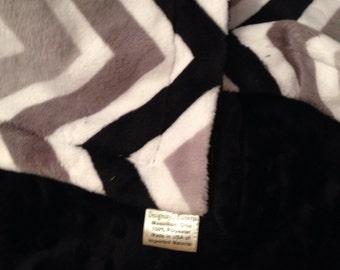 Grey Chevron Blanket, Black Grey Chevron, Dorm Room Blanket, Adult Throw, Couch Throw,  Adult Couch Blanket  50 x 60 in