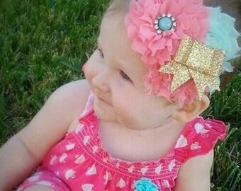 Spring headband, coral and mint headband, glitter bow, glitter bow headband, adjustable headband, gold glitter bow, gold bow headband
