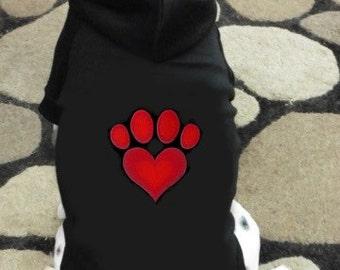 Love Heart Paw Print Dog Hoodie Sweatshirt