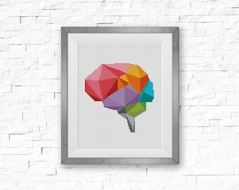 BOGO FREE! Geometric Brain Cross Stitch Pattern, Human Brain x-Stitch Chart, Human Anatomy Modern Decor, PDF Instant Download #025-15-2