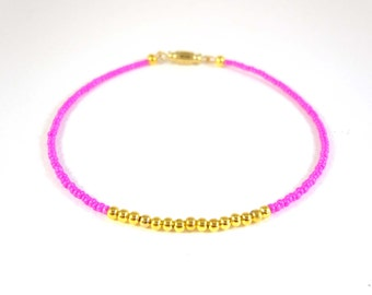 Hot Pink Anklet, Fuchsia Seed Bead Anklet, Beaded Ankle Bracelet, Beach Jewelry UK