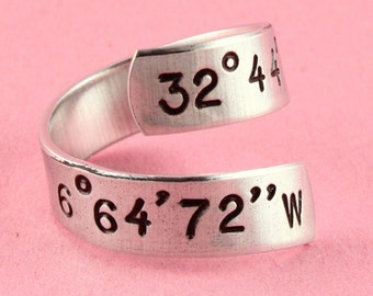 Coordinates Ring - Latitude Longitude Ring - Custom Address Ring - Silver Ring - Twist Ring - Wrap Ring - Degrees Ring - Personalized Ring