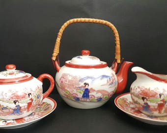Japanese  Hand painted Bamboo Handled With Sugar and Creame Vintage Teapot