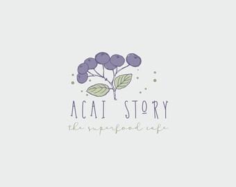 Vegan Logo Design// // Green and Helthy logo design// Food blog logo design// Acai Illustration
