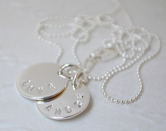 Love / Amore (Double Tag) Sterling Silver Necklace. Hand Stamped. Disk Necklace. Charm Necklace. Friend Gift. Gift for Her. Love. Amore.