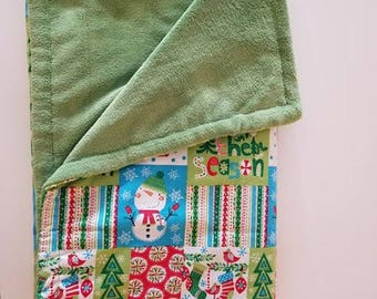Snowman patch Christmas blanket