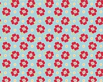 Bake Sale 2 Aqua Floral Fabric by Lori Holt for Riley Blake Fabrics