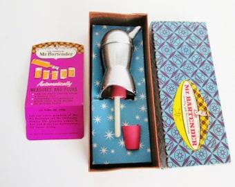 Vintage Mr Bartender Chrome Jigger Pour Spout in Box with Extra Stopper Shot Pourer Bar Tool Crinkled Metal Mad Men Barware