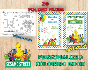 Personalized SESAME STREET Party Coloring Book / Digital / Printable / Birthday party / PDF