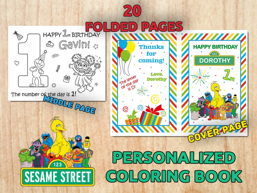 Personalized SESAME STREET Birthday Party Coloring Book