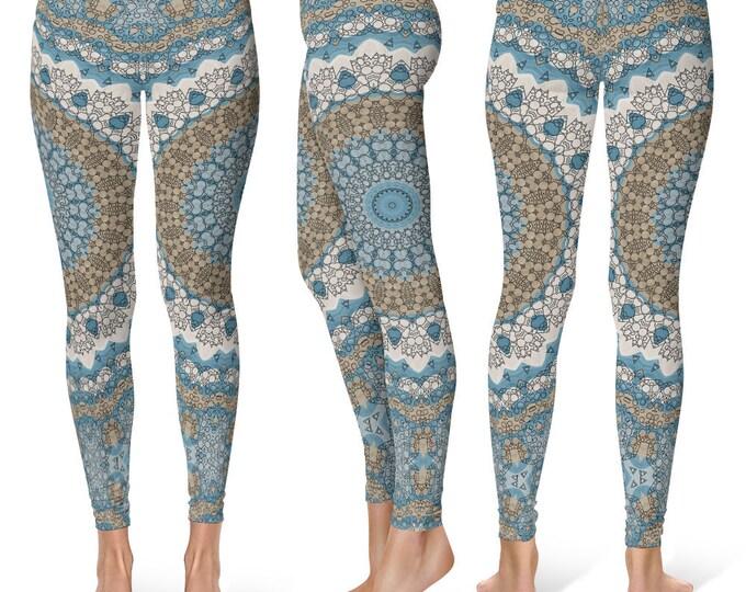 Shaman Leggings Yoga Pants, Unique Printed Yoga Tights for Women, Festival Clothing, Burning Man