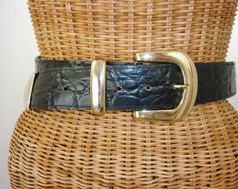 Alligator Faux Leather Wide Belt Fancy Gold Findings 29-33 Waist