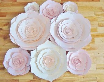 Paper Roses - Set of 8 | Paper Flowers | Ranunculus | Paper Flower Backdrop | Flower Wall | Wedding Backdrop | Home Decor | Baby Nursery