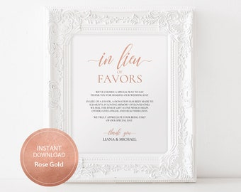 Editable PDF Template 8x10 In Lieu of Favors Favours Sign INSTANT DOWNLOAD Calligraphy Donation Sign Wedding favor sign Rose Gold #DP140_44