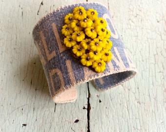 Sunshine Floral Adjustable Handmade Cuff Bracelet