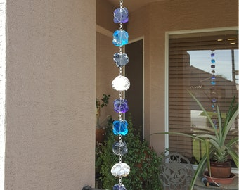 5 Ft  - Blues and Geodes Rain chain
