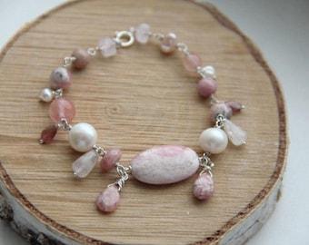 Gemstone silver  rhodochrosite, rose quartz, pearls, rhodonite and tourmaline bracelet