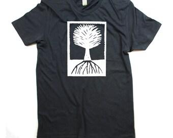 Mens Wood Cut Tree T-shirt - ORGANIC - Mens Charcoal Grey Tree Shirt - In Small, Medium, Large, XL, 2XL