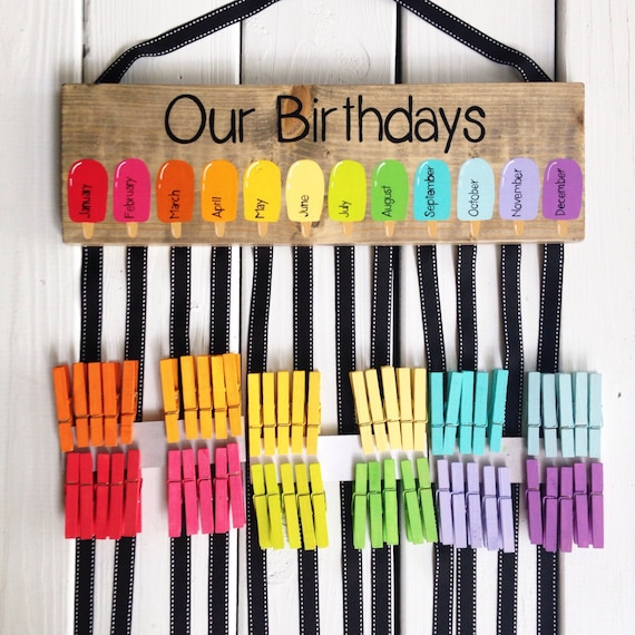 Classroom Decoration Birthday Chart ~ Birthday chart class birthdays classroom decor rainbow