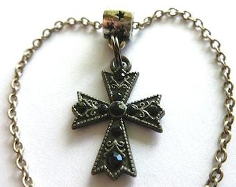 BLACK Jet CRYSTAL Cross, Vintage Assemblage Maltese Cross & Neck Chain, Black Crystal Cross Necklace, Black Silvertone Vintage Pendant