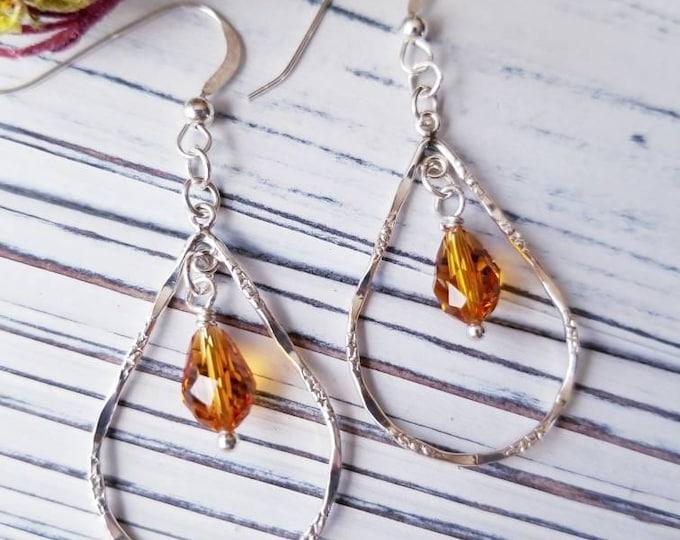 Swarovski dangle earrings, minimalist silver tear drop hoop earrings, amber crystal drop earrings, delicate silver and crystal hoop earrings