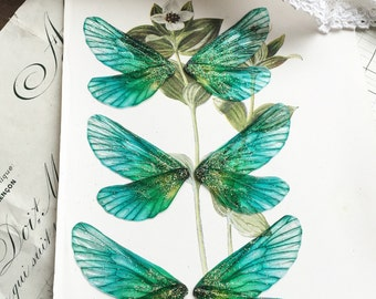 Set of three  small turquoise rainbow faerie wings