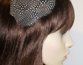 Black and White Spotted Feather Hair Clip Fascinator  Polka Dot Feathers Handmade Hair Accessory 'Ophelia'