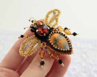 Gemstone Crystal Gold bee brooch Embroidered Bumble bee Jasper pin Honey bee brooch Swarovski Insect jewelry Honey bee pin Bumble bee brooch