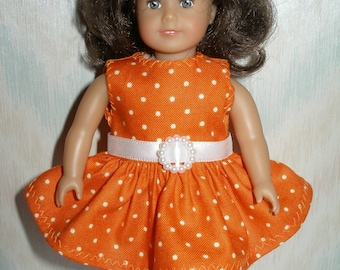 Dress for 6 1/2 inch dolls   orange and white dot print
