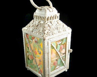 Fairy lantern embellished with clay for wedding or celebration unique hand crafted art decor