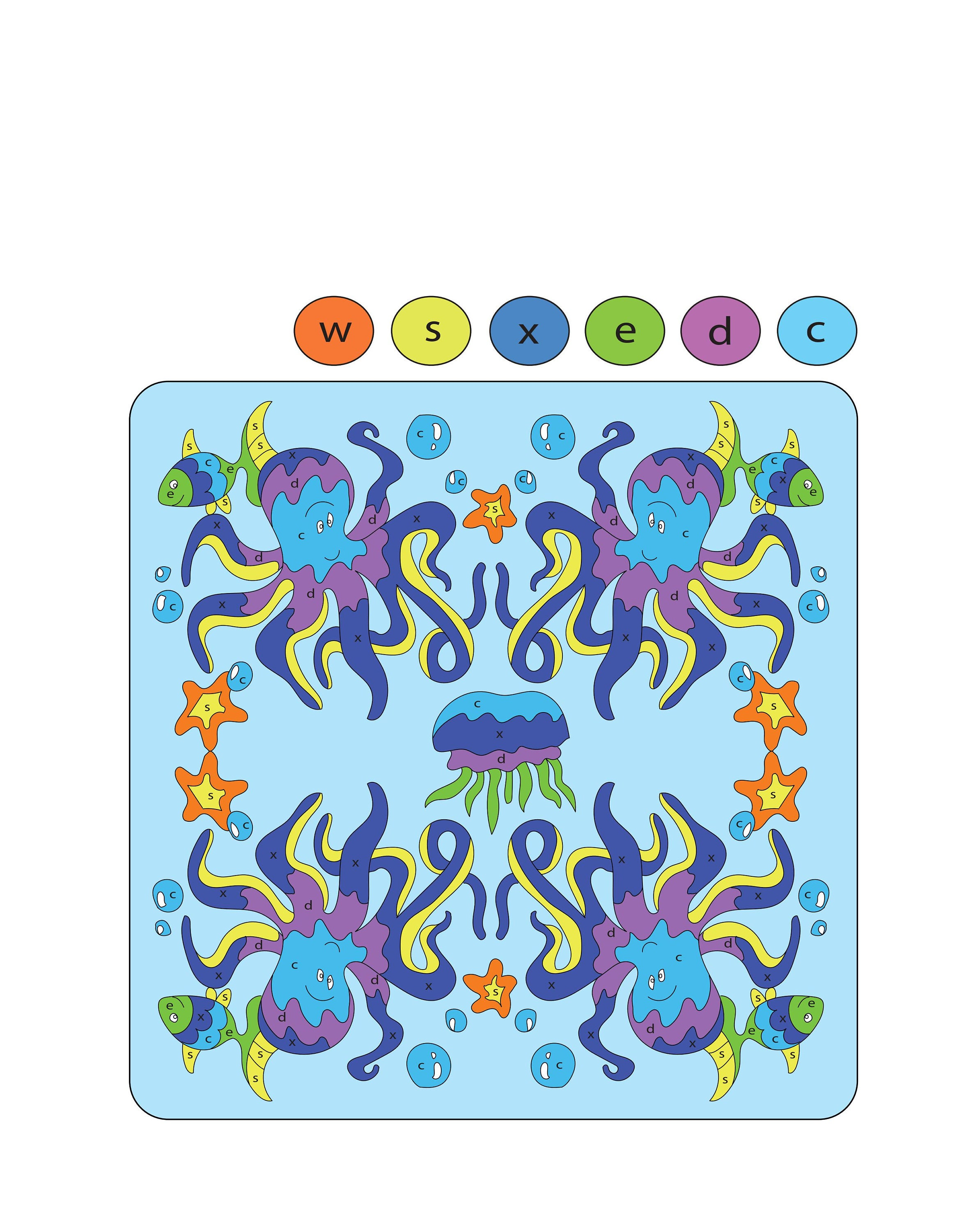 Mandala Printable Digital Color by Letters for Kids