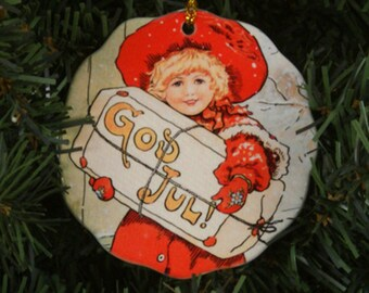Ceramic Scalloped Edge Ornament - Swedish God Jul Girl #076