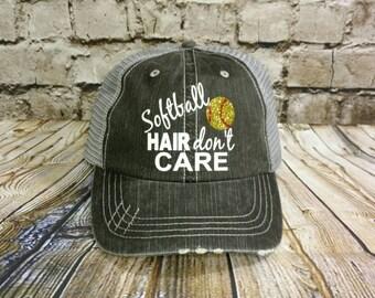 Softball hat, Personalized Trucker Hat, monogrammed hat, distressed trucker hat, vinyl monogrammed hat, softball mom