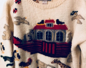 Vintage White Wool Pullover Noah's Ark Sweater Size Large Gusto