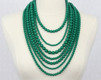 Green Seven Strand Beads Necklace Multi Strand Beaded Necklace Statement Necklace Multi Layered Beads Necklace