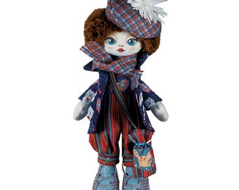 "Doll Making Kit, Set for sewing doll, Textile doll ""Actress"", Set for textile doll, Handmade doll, Sewing kit"