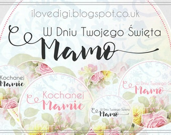 Mother's Day - digital collage sheet - digital stamp set - scrapbooking, cardmaking, tags, etc. - Polish version